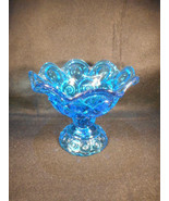 Vintage Moon and Stars L. E. Smith Deep Blue Pedestal Candy Pompote Dish - $24.70