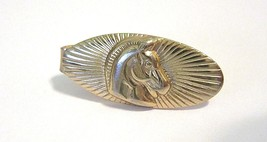 SMALL GREEK TROJAN HORSE CARVED METAL TIE CLIP RAISED DETAILED GOLD TONE... - $20.00