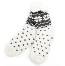 Urban-Peacock Knitted Fleece Sherpa Lined Slipper Socks- Cream w/ Dark Grey - $10.95
