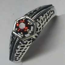 Natural Pyrope Garnet Victorian 925 Sterling Silver Filigree Art Deco Ri... - $49.49