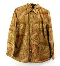 Chaps Ralph Lauren Women 2X Plus Gold Buttons Up Paisley Shirt Blouse Brown Red - $22.99