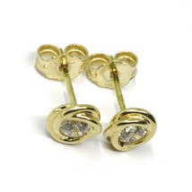 18K YELLOW GOLD MINI BUTTON EARRINGS CUBIC ZIRCONIA, FLOWER BRAIDED SPIRAL, 6 MM image 2