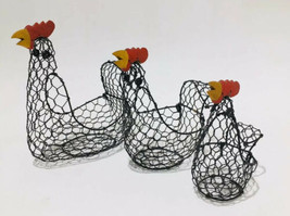 Set Of 3 Wire Wood Rooster Chicken Baskets Farm County Decor Unique Thre... - $28.22