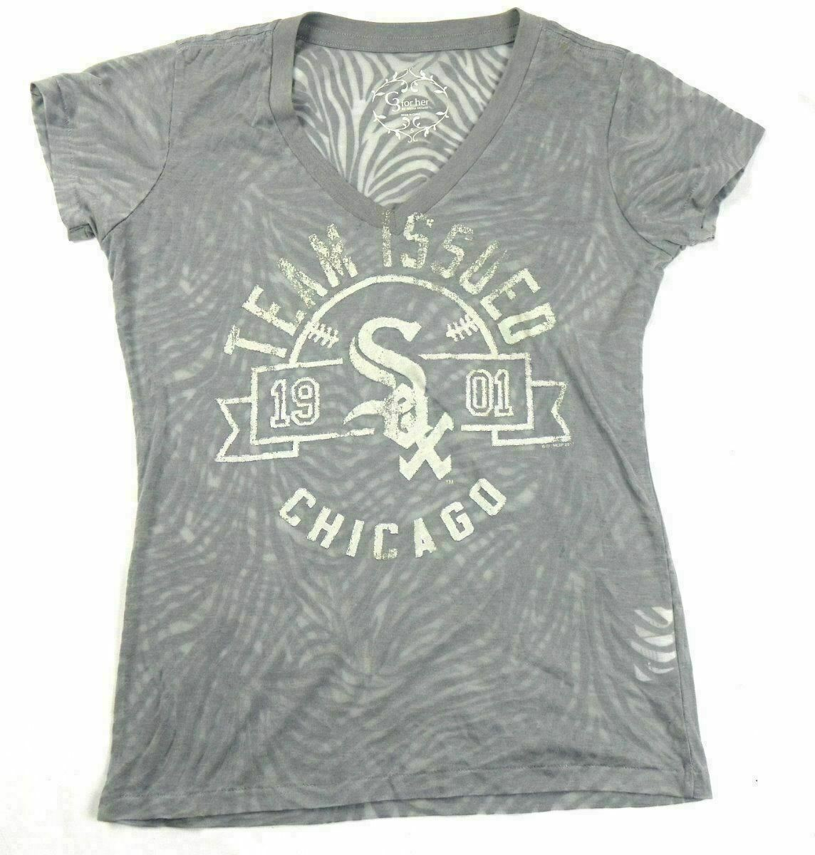 Ladies Small Chicago White Sox Shirt G3 for Her Team Issued Burnout Women's Tee