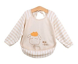 Colored Cotton Kids Painting Smocks Baby Feeding Clothes Baby Bib, 0-3 Years