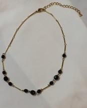 """Vtg Goldtone Black Bead Link Necklace Liz Claiborne Signed LCi 17.5"""" w/ Extender - $12.65"""