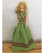 "Blue Eyes Green Bohemian Linen Dress Blondie Barbie Doll 12"" - $6.63"