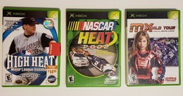 MICROSOFT XBOX - Lot of 3 Sport Games MLB 2004 Nascar Heat 2002 MX World Tour image 1