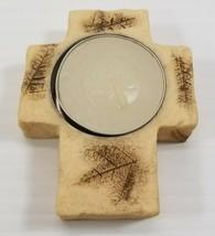 AG) Tea Light Religious Cross Resin Candle Holder - $5.93
