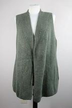 Talbots S Green Rib Knit Cotton Blend Tweed Tunic Cardigan Sweater Vest - $26.60