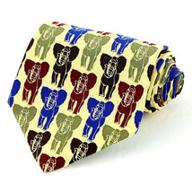 Vicky Davis Elephant Herd Mens Necktie Elephants Yellow Silk Animal Neck... - $19.75