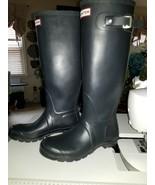 Womens Hunter Rain Boots Original Tall Blue Matte 7 - $49.00