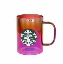 Starbucks Red Iridescent Glass Handle Coffee Mug Cup 14 oz Siren Logo Ho... - $41.57