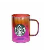Starbucks Red Iridescent Glass Handle Coffee Mug Cup 14 oz Siren Logo Holiday - $41.57