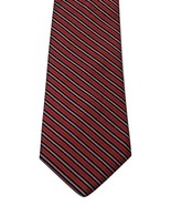 Paul Fredrick Italian Silk Handmade Red Multicolor Stripe Print Men's Ne... - $19.79