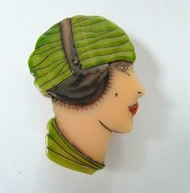 Art Deco Flapper Girl Head Face Brooch Pin Catalin Hand Carved Overdyed ... - $28.70