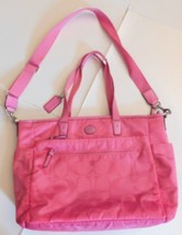 Coach Pink Signature Nylon Diaper Bag 77577 - $89.99
