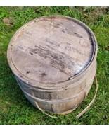Home Treasure Antique Wooden Barrel Wood Rustic Old Slat Rings Vintage R... - $47.49
