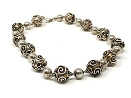 "C1950's Carmen Beckmann Sterling 15.5"" Bead Necklace, Mid-Century Taxco - $396.00"