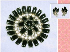 Vintage Black & Rhinestone Prong Set Brooch Pin &  Black Clip On Earrings - $24.54
