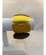 Vintage Yellow And Brown Plastic Panels Stretch Bracelet (1887) - $10.00