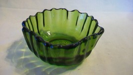 Small Round Green Glass Bowl with Ribbed Sides, Scalloped Edges - $29.69
