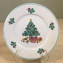 Gibson Christmas Tree Salad Dessert 7 1/4 inch Plate Noel Morning - $5.92