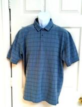 Van Heusen Polo Shirt Golf Top Blue Checker Cotton Blend XL S/S Button Down - $19.75