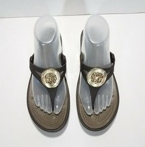 Crocs Sanrah Gold Medallion Wedge Flip Flop Thong Sandals Womens Size 8 ... - $21.75