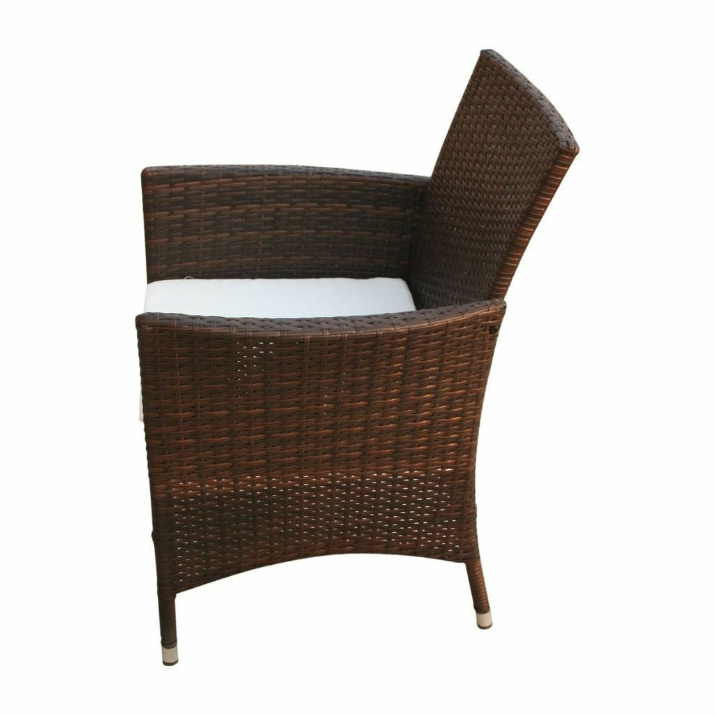 2 pc Patio Garden Rattan Wicker Dinner Chairs  Armchairs Cushions 2 Color