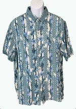 Tasso Elba Island Short Sleeve Button Down Floral Shirt Blue White XXL - $9.90