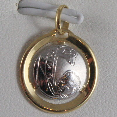 SOLID 18K WHITE YELLOW GOLD MEDAL REMEMBRANCE BAPTISM, ENGRAVABLE, MADE IN ITALY