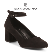 BANDOLINO Women Ankle Strap Heels Shoes Black Fabric Flats Ankle strap 6... - $87.00