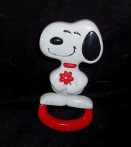 "5"" Vintage 1966 Snoopy White & Red Puppy Dog P EAN Uts Baby Plastic Rattle Toy - $10.76"