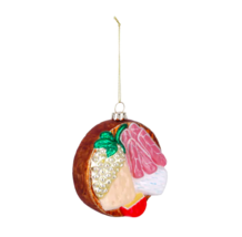 Glass Cheese Platter Deli Party Tray Christmas Ornament Holiday Ham Swis... - $11.39