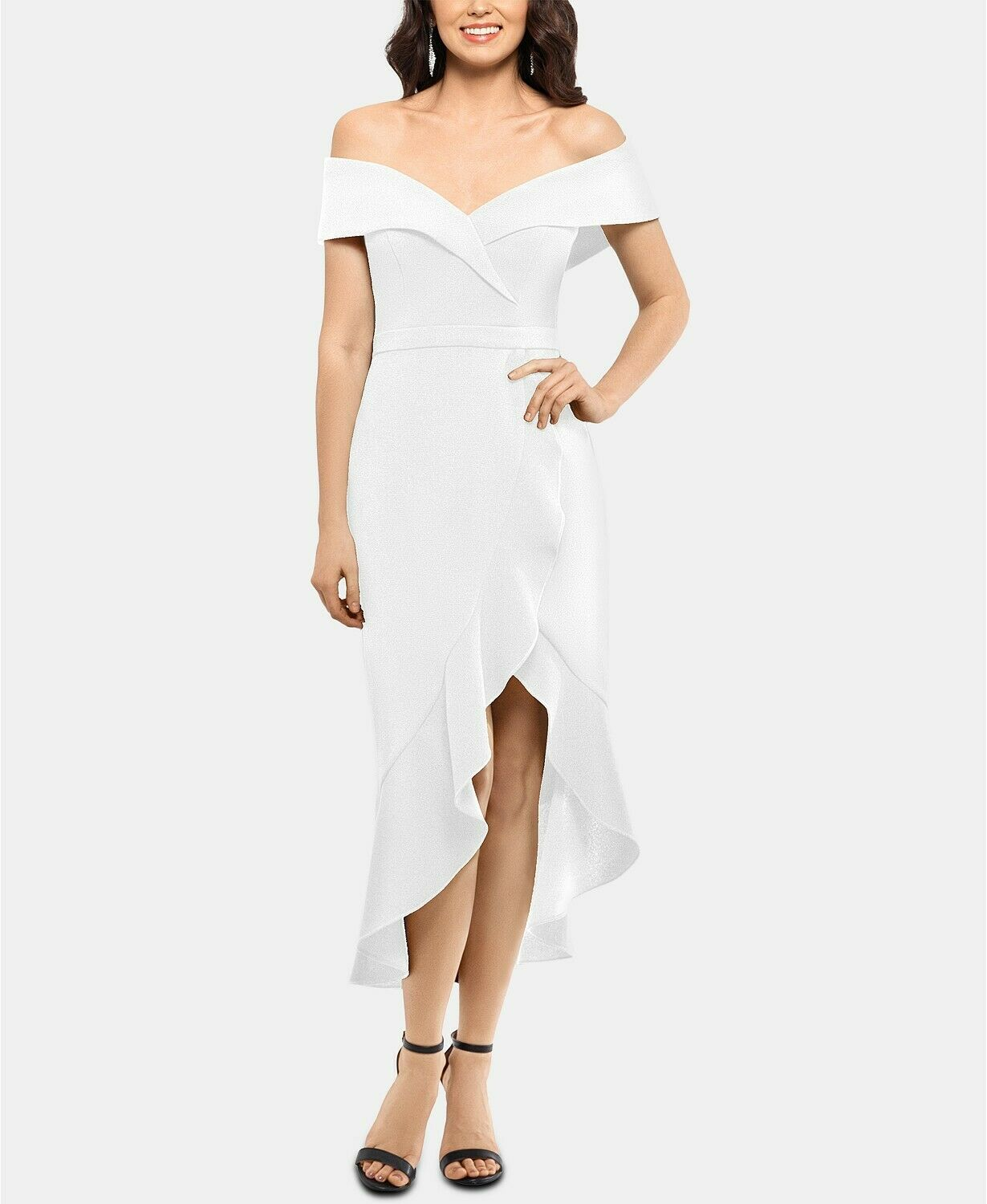 XSCAPE Off-The-Shoulder Midi Dress Ivory Size 8 $239