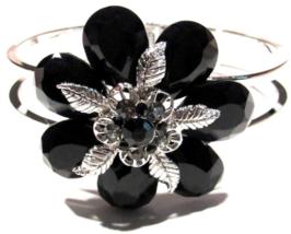 Flower Bangle Bracelet Crystal Black Petals Silvertone Metal Average Size - $29.99