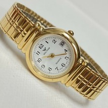Waltham Women's Gold Plated Date Watch WLE08-136 2015 White Dial Works NICE - $29.65