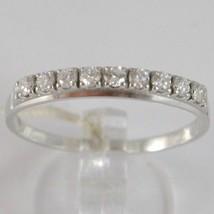 WHITE GOLD RING 750 18K, VERETTA 9 DIAMONDS CARAT TOTAL 0.28, FLAT SHANK image 1