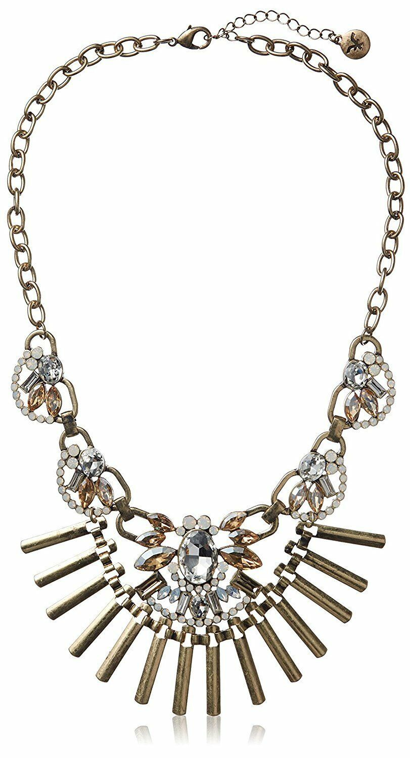Fragments Gold Tone Glass Crystal CZ Bar Bib Oval Chain Necklace NWT