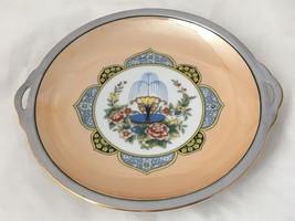 Noritake Morimura Lusterware Handled Plate w Hand Painted Water Fountain... - $49.95