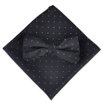 Men Polka Dot Bowtie Necktie Pocket Square Black Business Wedding Party ciciTree - $15.97