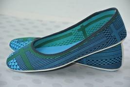 Tory Burch Sport Womens Sz 7 M Blue & Green Knit Textile Ballet Flats NICE! - $48.50