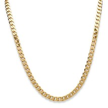 "18k Yellow Gold over Silver Curb-Link Chain Necklace (6.5mm) 24"" - $212.84"