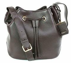 DKNY Donna Karan Bucket Bag Dark Brown Pebbled Leather Medium Handbag RR... - $252.14