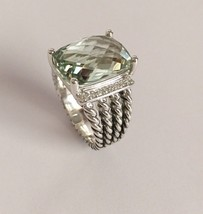 David Yurman Sterling Silver 16x12mm Prasiolite Diamond Wheaton Ring Size 8 - $424.71