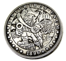US Hobo 1896 Morgan Dollar Hand Carved Silver Plated Copy Coins - $7.99