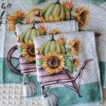Kitchen Linens Set, 6pc, Give Thanks with a Grateful Heart, Sunflowers Pumpkins image 5