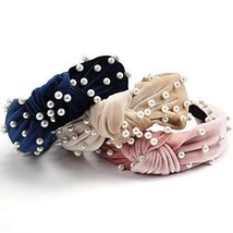 Canitor 3 Pack Pearls Headbands Top Knot Headbands for Women Velvet Vintage Twis