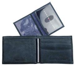 Tommy Hilfiger Men's Leather Canvas Credit Card Wallet Billfold Navy 31TL22X050 image 7